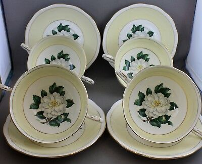 4 Royal Albert Two Handled Soup Bowls-Lady Clare/Signed  L 745