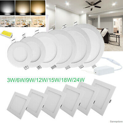 Dimmable LED Recessed Ceiling Panel Light Fixture Epistar Bulb Lamp + Driver RT9