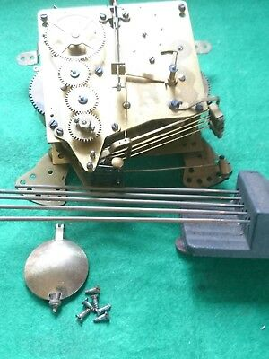 Haller Westminster Chime Clock Movement, Gongs & Pendulum In Full Working Order