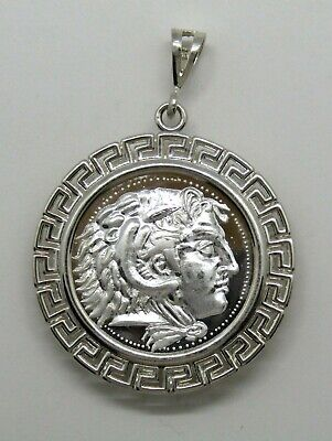 1/4 oz .999 Silver Round Alexander the Great Tetradrachm 925 Greek key Pendant