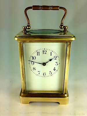 Antique French Polished Brass Porcelain Dial Arabic Numerals Carriage Clock