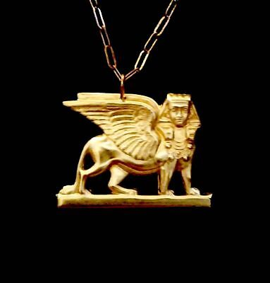 Vintage Egyptian Pharaoh Sphinx Necklace Cool!