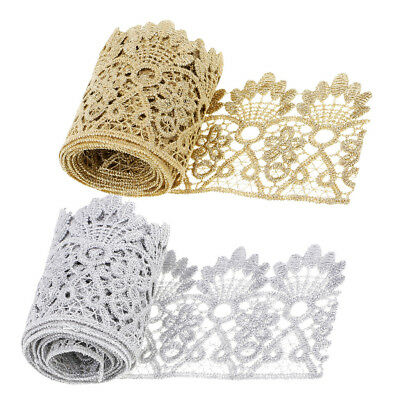 1 Yd Metallic Embroidered Flower Lace Trim Ribbon Wedding Applique Sewing Craft