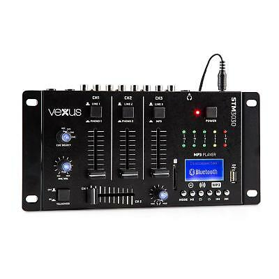 Vexus STM3030 4-Kanal-Mischpult DJ Mixer Bluetooth USB SD MP3 LED Mikro Sektion