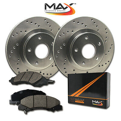 2013 2014 2015 Ford Taurus Non SHO Cross Drilled Rotors w/Ceramic Pads R
