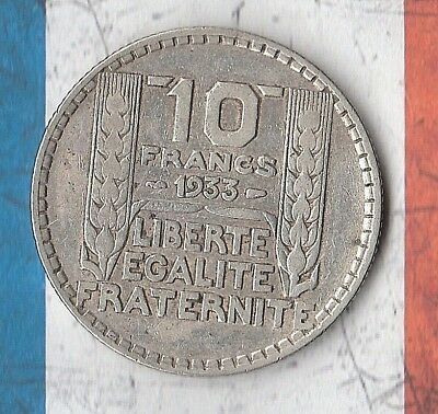 1933 France 10 Francs- 68% Silver- - IN AMAZING SHAPE!!
