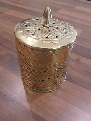 Unusual Brass Lidded Caddy Style tin with fret decoration