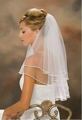 White Bridal Wedding Veil 2 Tier Elbow Length with Comb