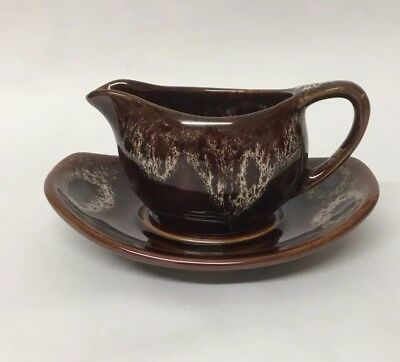 Kernewek Cornish Pottery Jug and Saucer Brown Treacle Glass Glaze