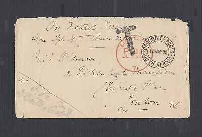 South Africa 1900 Boer War Postage Due Military Cover Crocodile Pools To London