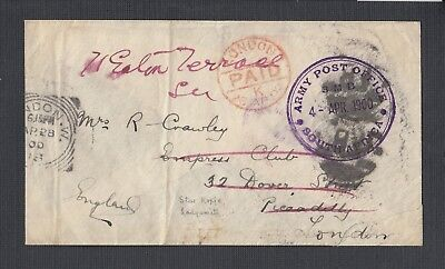 South Africa 1900 Boer War Army P.o 3Mb Military Cover Ladysmith To London Uk