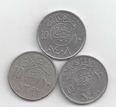 3 DIFFERENT 10 HALALA COINS from SAUDI ARABIA (1972, 1979 & 1987)