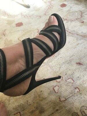 new styles cd4e1 6ad21 CHRISTIAN LOUBOUTIN 38.5 black strappy Heels