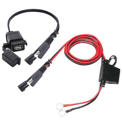 For 12V Vehicle Motorcycle ATV Boat Car Marine 2x USB Charger With  Inline Fuse