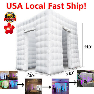 2.8M 2 Door Inflatable LED Air Pump Photo Booth Tent Fun Party Exhibition 110V