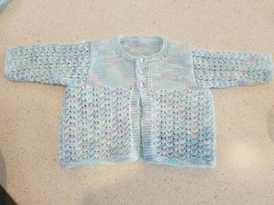 Blue Handmade Knit knitted Cardigan newborn size 000 winter excellent condition