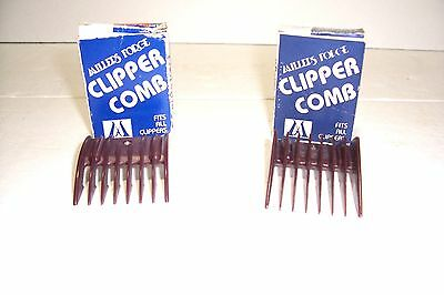 "2 Millers Forge Clipper Combs #1 5/8"" Flat Bottom And #3 5/16"" Rocker Bottom"