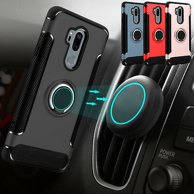 For LG G7+ ThinQ /G7 Phone Case Hybrid Car Mount Ring Stand Hard TPU Armor Cover