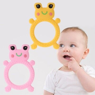 Baby Teether Pacifier Teething Frog Nursing Silicone BPA Free Chew Necklace Toys