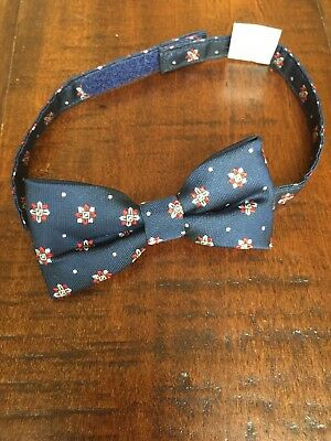 Janie and Jack Navy Blue Pattern Bow Tie 4 5 6 7 8 Years NWOT HTF