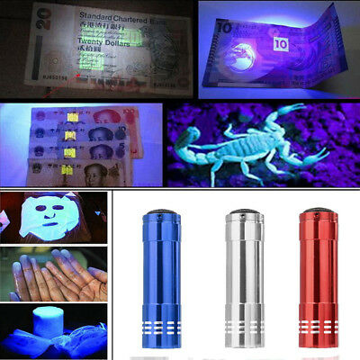 Mini Aluminum UV Ultra Violet 9 LED Flashlight Sterilization Money detector Lamp