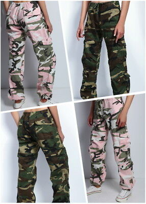 Womens Ladies Army paratrooper Comfort Loose Low Rise Fatigue Cargo Pants