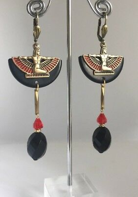 Art Deco Egyptian Revival Black Bakelite Winged Isis Statement Earrings
