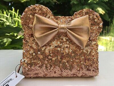 Disney Parks Loungefly Rose Gold Sequin Mini Backpack & Wallet Set Ears Bow NWT