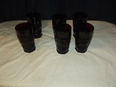 6 Avon Cape Cod ruby red tumblers 5 1/2 inches