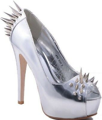 Damen High Heels,Stilettos,Farbe Silber,Stachelnieten,Pumps,Peeptoes, Gr. 38