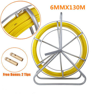 130m 6mm Electric Reel Wire Running Rod Duct Puller Fiberglass Cable Fish Tape