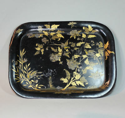 Antique English 19th century lacquered tin tray