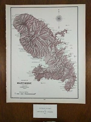 "1903 MARTINIQUE Map 11.5""x14.5 Antique Original Old Vintage French MAPZ211"
