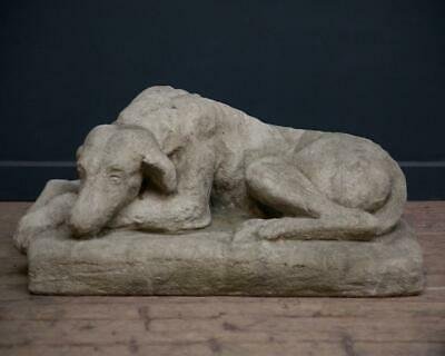 English stoneware Hound laying , Loyal Dog sculpture in stone , dog statue