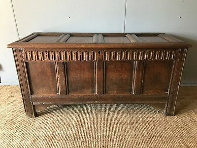 Large Antique 17th Century 1600's Carved Panelled Oak Coffer Chest Storage Trunk