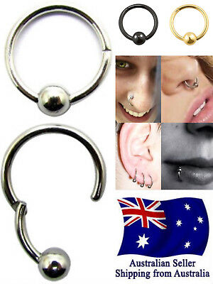 Surgical Steel Hinged Segment Clicker Ring Ball Lip Ear Nose Body Piercing 1pc
