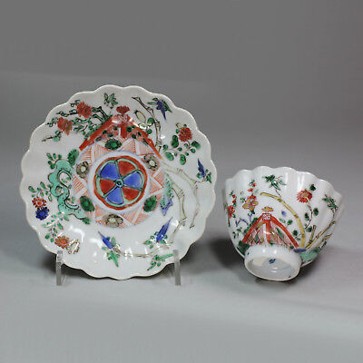 Antique Chinese famille verte lobed teabowl and saucer, Kangxi (1662-1722)