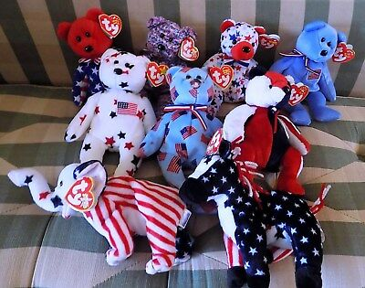 (9) Ty Beanie Babies: USA, Patriotic, America-themed (July 4th)  New with Tags