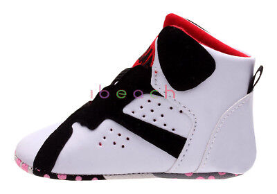 Infant Baby Boy Girl White Sneakers High Top Crib Shoes Size Newborn to 18Months