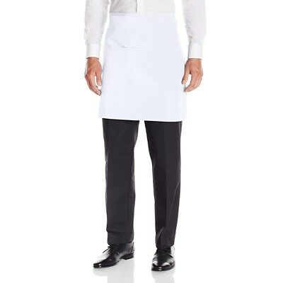White Half Bar Apron With Pocket & Waist Ties