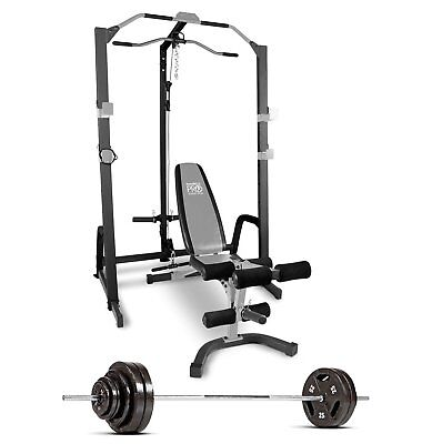 MARCY HOME GYM Fitness Deluxe Cage System with Bench and 160 lb  Weight Set