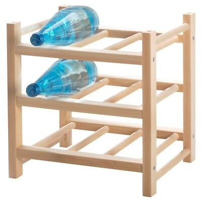 Ikea HUTTEN Solid Wood Wine Rack 9 Bottle Timber Wooden Storage Organiser Stand