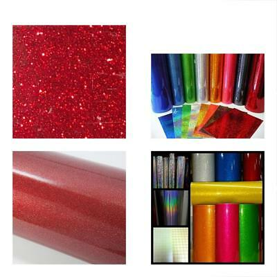 """Red Adhesive Vinyl Glitter Roll 12"""" By 15 FEET Transparent - For Cricut, Cameo,"""