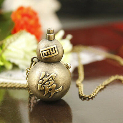 Anime Naruto Vintage Gaara Weapon Pocket Watch Necklace Pendant Cosplay Toy Gift