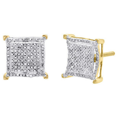 Diamond Double Halo Earrings Sterling Silver Yellow Finish 11.50mm Studs 1/3 CT.
