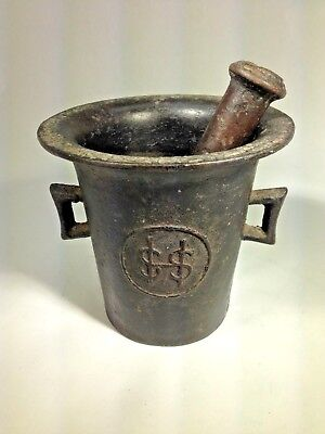 Antique  Metal Cast Iron Mortar & Pestle Late 1800s Early 1900s #4 & $$ Signs