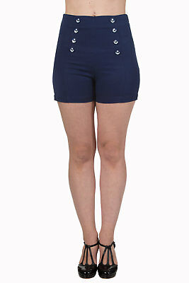 Blue Rockabilly Vintage 50's Anchor Buttons High Waist Shorts By Banned Apparel