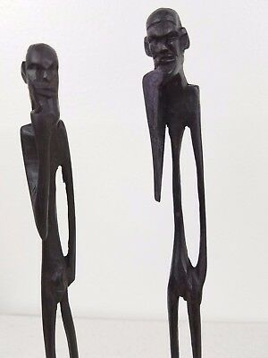 """Pair of Vintage African Hand Made """"Skeleton Man"""" Wooden Statues - 7""""- 8"""" Tall"""