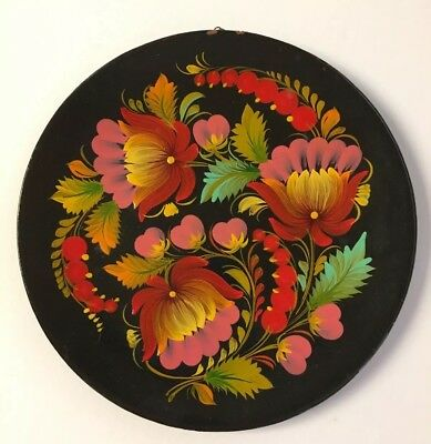 Vintage '79 Russian Folk Art Khokhloma Plate Black Lacquer Flowers & Berries