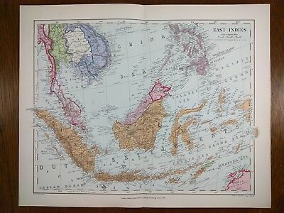 STANFORD 1896 EAST INDIES Map Old Antique SUMATRA JAVA BORNEO PHILIPPINES MAPZ